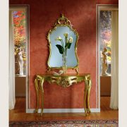 Gold Leaf Console with Mirror