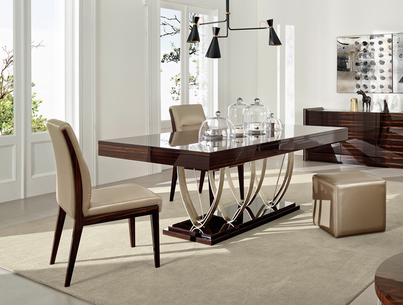 Arco Wood and Stainless Steel Dining Collection