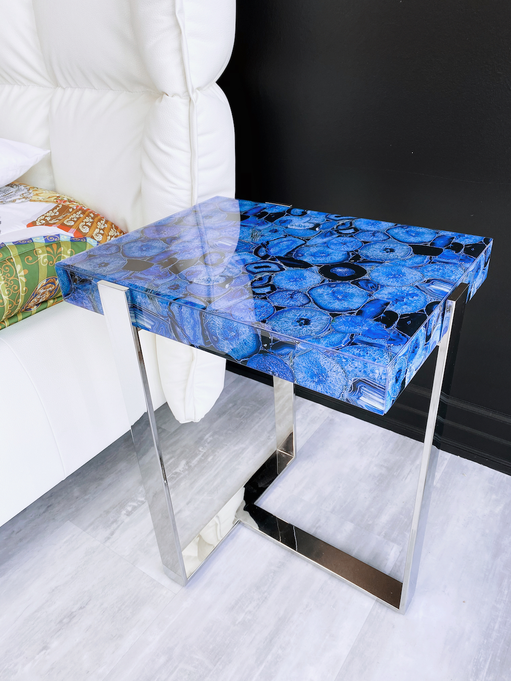 blue agate acrylic side table