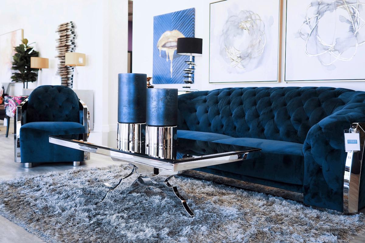 blue velvet sofa modern chrome coffee table blue home decor