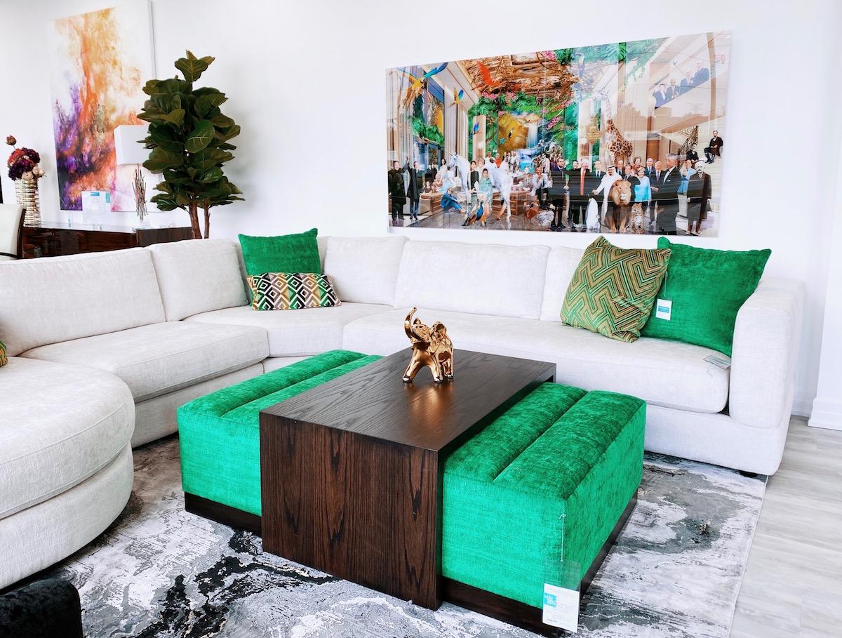 green velvet ottoman modern sectional sofa
