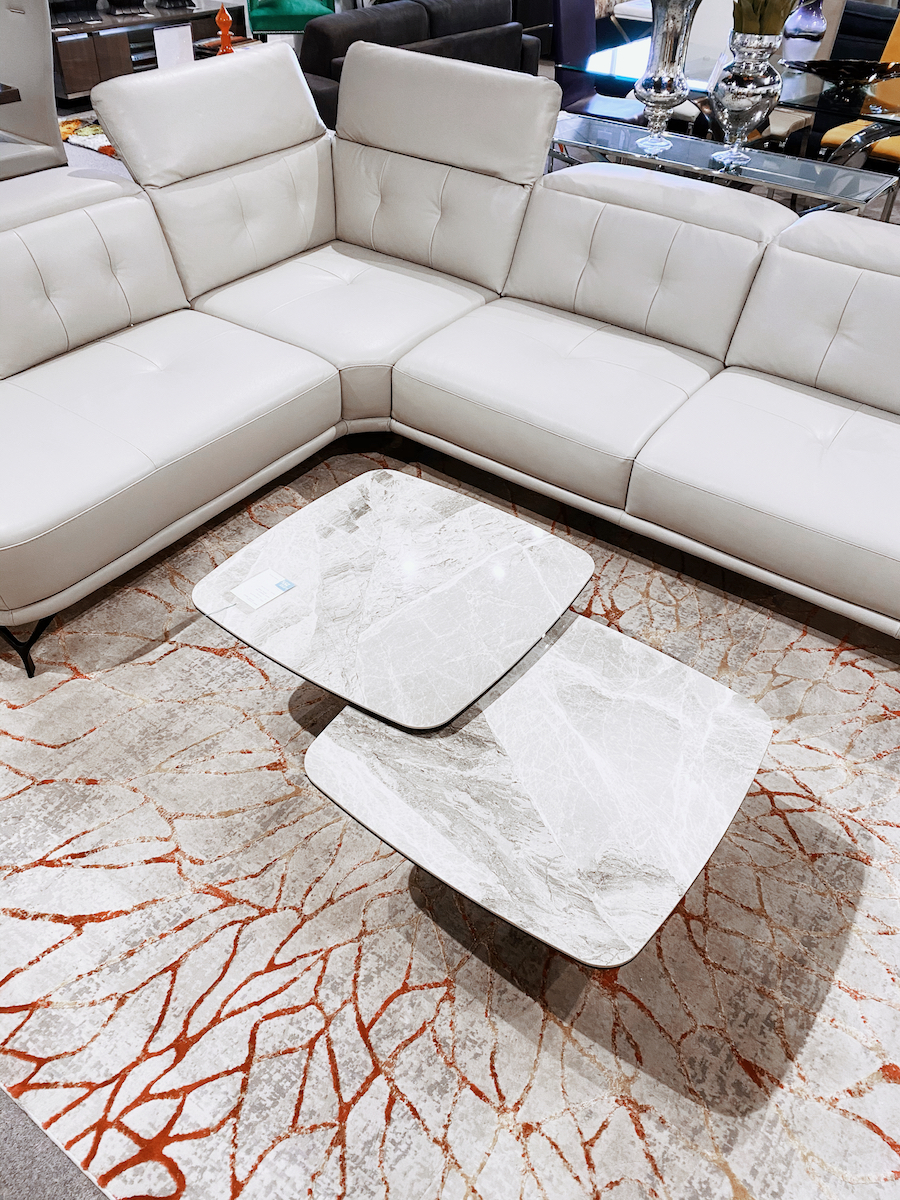 marble nesting coffee tables modern leather sectional sofa