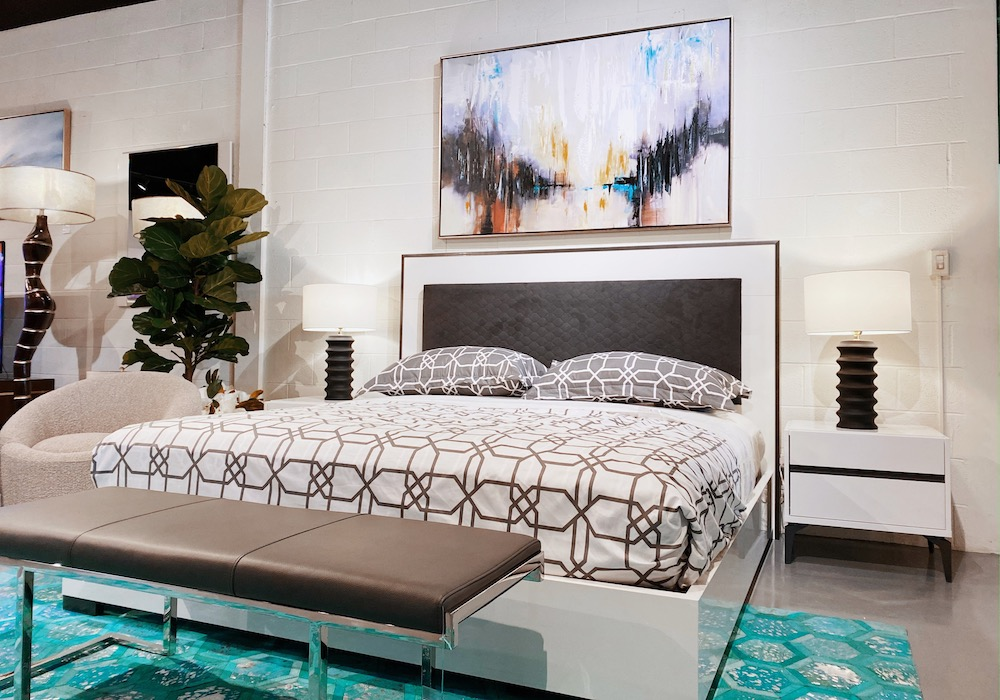 modern white bed frame