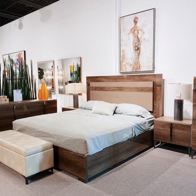 modern wood high glass bed