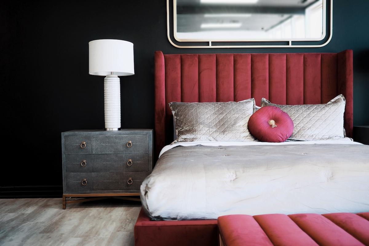 Luxury Red Velvet Upholstered Bed Frame