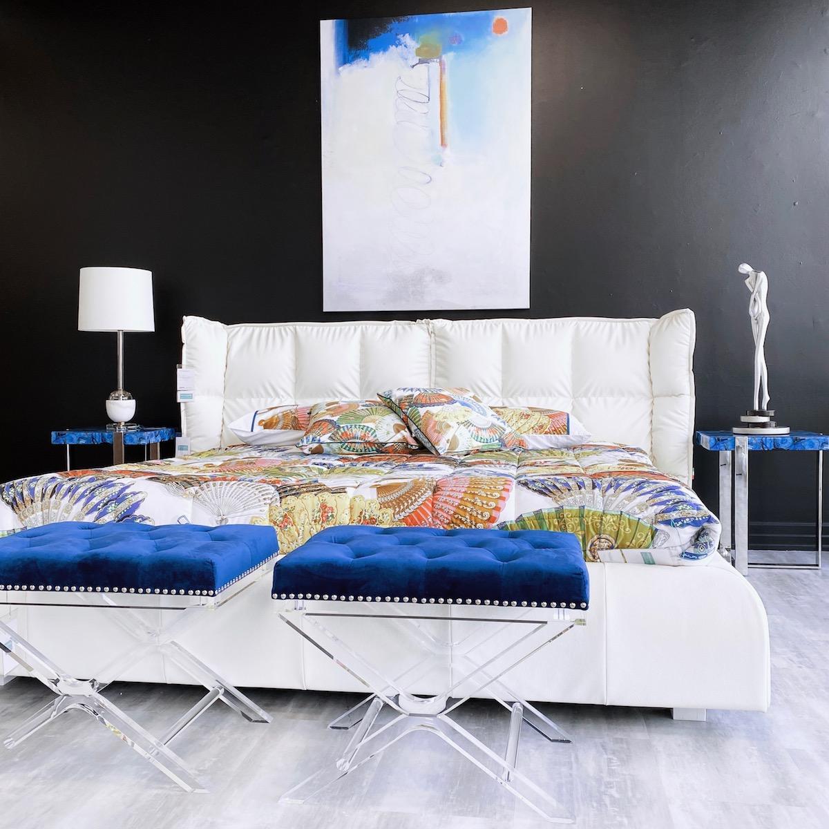 white leather duvet bed frame